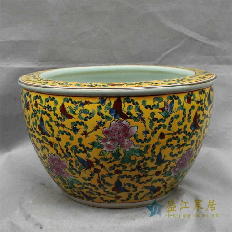 CX0506景德镇精品陶瓷黄底粉彩鱼缸蝴蝶牡丹缠枝大缸水缸花盆