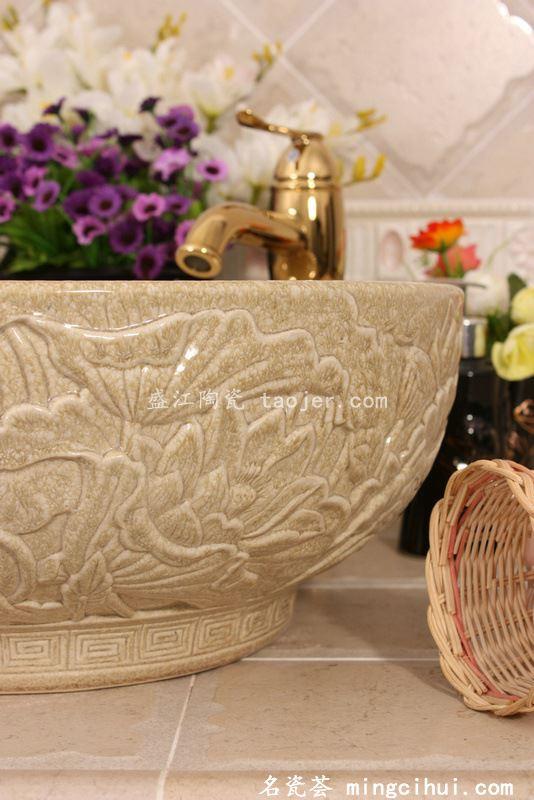 RYXW210景德镇 双层黄结晶釉雕刻 家居工艺摆设