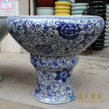 HD23景德镇精品陶瓷青花缠枝纹鱼缸水缸花盆水培金鱼缸大缸
