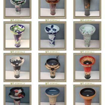 RYXW042景德镇 陶瓷 雕刻人形 连体式洗脸盆 家居工艺摆设