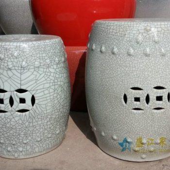 HD19景德镇陶瓷 米白色开片裂纹圆面鼓凳 瓷凳 梳妆凳 凳子