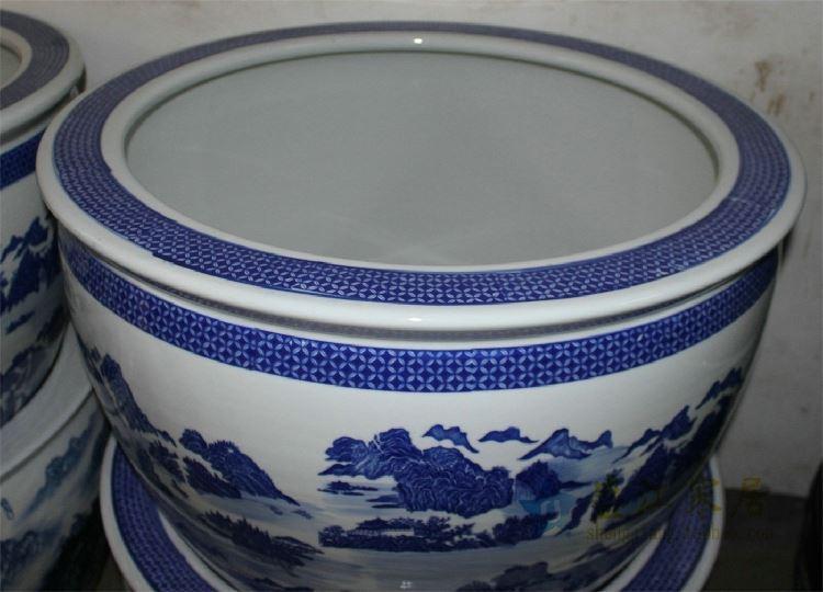 RZDE01景德镇精品陶瓷青花大缸水缸鱼缸水培花盆手绘青花山水缸