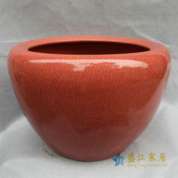 RYHD26景德镇精品陶瓷红色开片鱼缸大花瓶 水缸 大缸家居庭院装饰