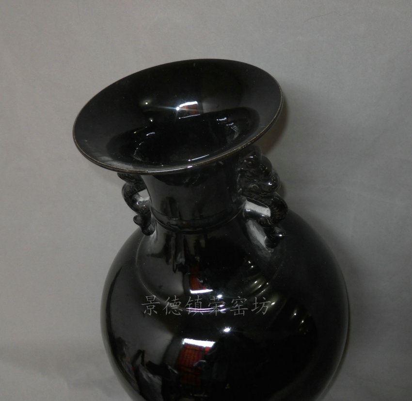 NRCN99景德镇 陶瓷 颜色釉 黑釉 天球赏瓶樽 花瓶 花插