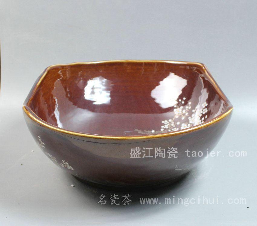 RYZC01景德镇 陶瓷 盒形金枝梅花 洗脸盆 家居工艺摆设