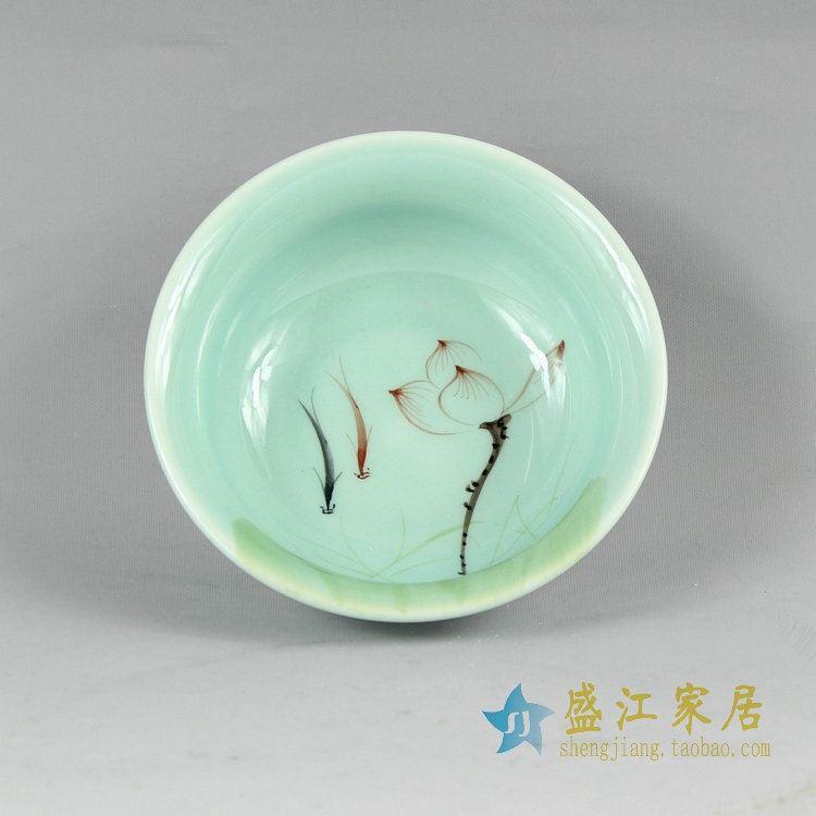 RYZU09-10景德镇陶瓷茶碗功夫茶杯品茗杯小碗荷花鱼底部磨砂效果