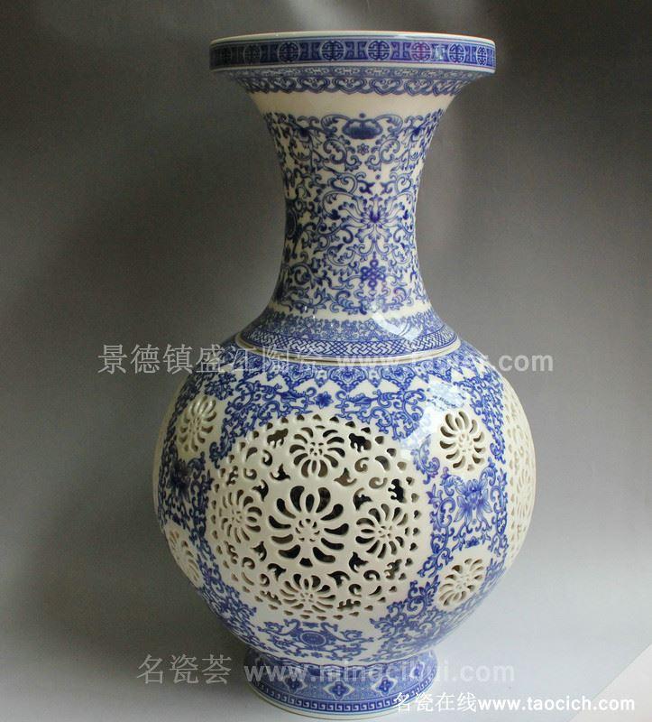 RYXH02景德镇陶瓷 青花 镂空玲珑 灯具梅瓶赏瓶花瓶家居摆设