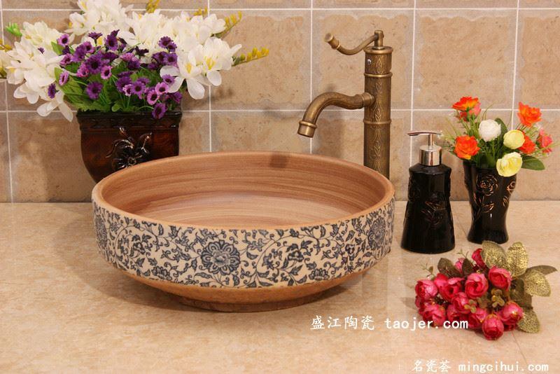 RYXW601景德镇 陶瓷 金钟形青花缠枝莲 洗脸盆 家居工艺摆设