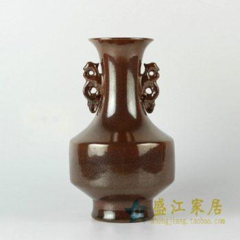 RYPM30景德镇精品陶瓷花瓶大清乾隆年制棕色双狮耳花瓶家居摆件