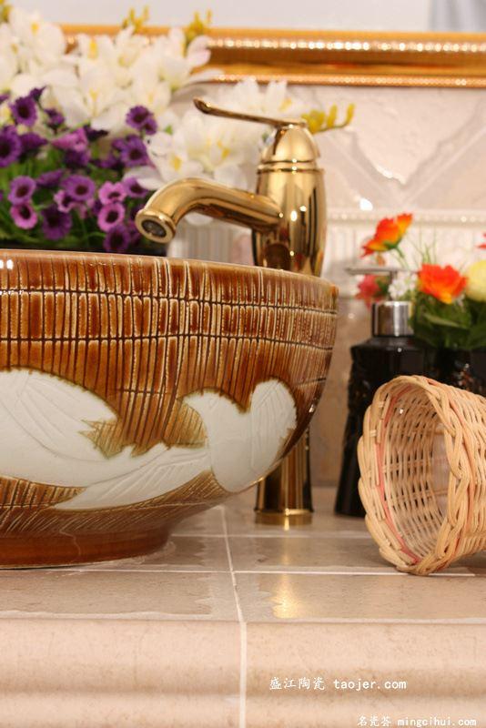 RYXW569景德镇 陶瓷 雕刻秋之鸽 洗脸盆 家居工艺摆设
