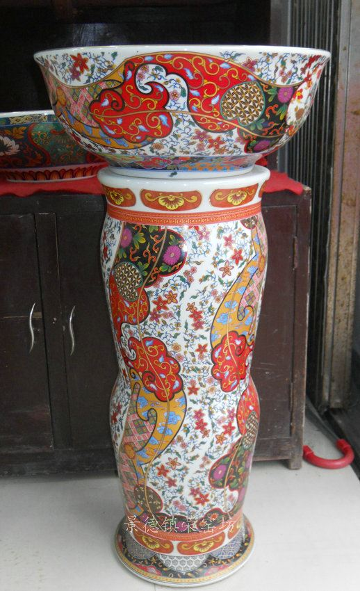 SJBG69景德镇 精品陶瓷仿古彩花金边手工 五彩 洗脸盆台盆