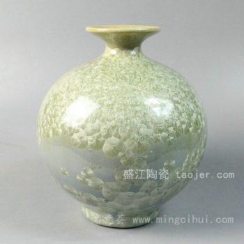 RYYH03景德镇 陶瓷 草绿色 结晶釉 花瓶 工艺摆设