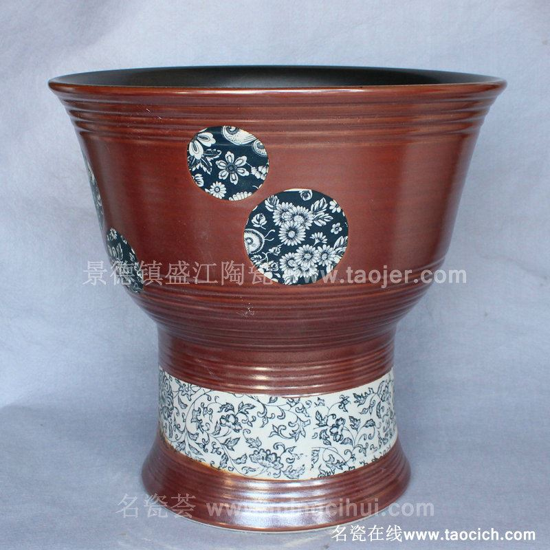 RYBH104景德镇 陶瓷红釉 缠枝花 一体式洗脸盆 家居工艺摆设