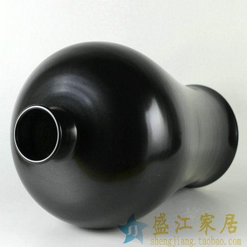 RYNQ171景德镇陶瓷花瓶颜色釉花瓶黑色瓶子家居装饰摆件花瓶
