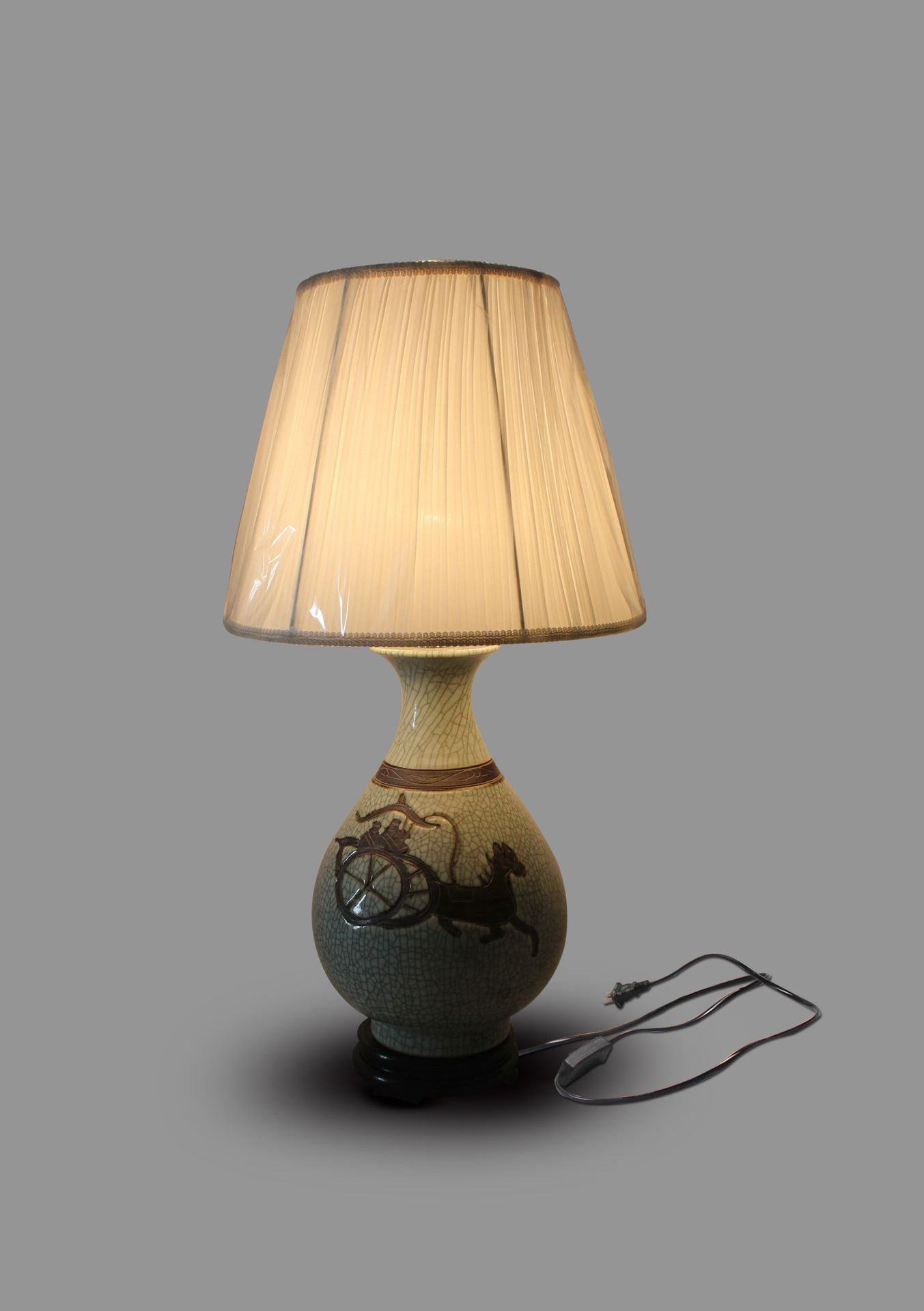 DSIF06景德镇 陶瓷 开片雕刻人马 台灯 灯具 灯饰 家居摆设