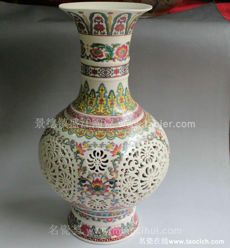 RYXH03景德镇陶瓷 青花 镂空玲珑 灯具梅瓶赏瓶花瓶家居摆设