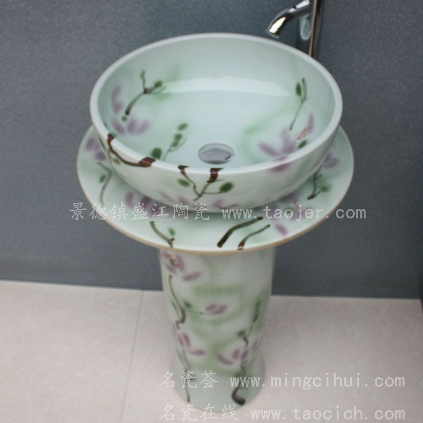 RYXW046景德镇 陶瓷 绿荷花 连体式洗脸盆 家居工艺摆设