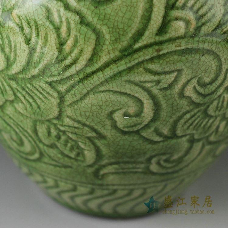 RZDF01景德镇精品陶瓷绿色开片仿古花瓶家居桌面摆件收藏瓶子