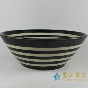 RYXW349景德镇陶瓷洗脸盆台上盆卫浴用品 黑白条纹洗脸盆单孔