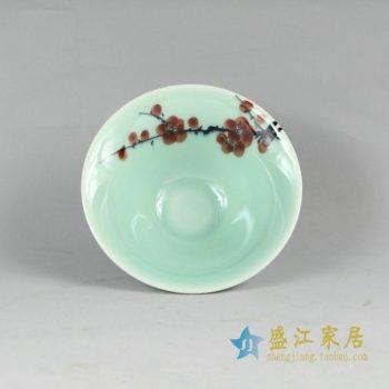 RYZU11景德镇陶瓷斗笠碗品茗杯小碗手绘梅花荷花莲子品茶杯