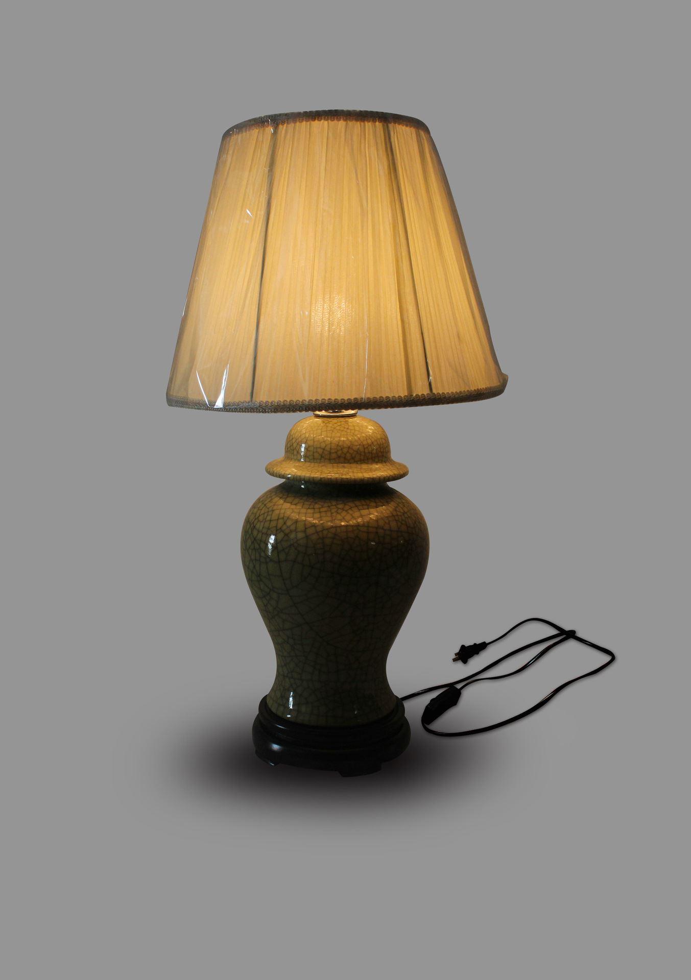 DSIF018景德镇 陶瓷 黄釉将军罐 台灯 灯具 灯饰 家居摆设