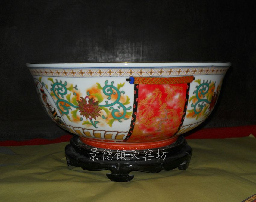 SJBG68景德镇 精品陶瓷仿古彩花金边手工 缠枝小船 洗脸盆台盆