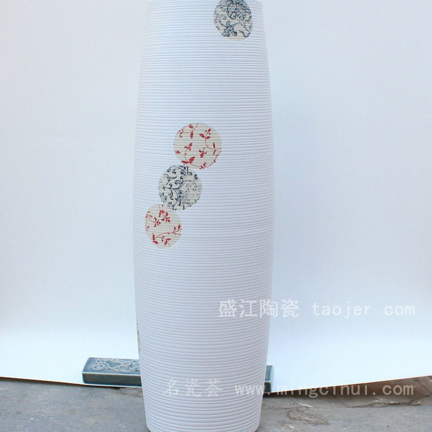 RYKY20景德镇 陶瓷 白色花纹 花插 陶艺 工艺摆设