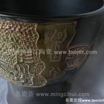 RYBH102景德镇 陶瓷带钉花釉 颜色釉 一体式洗脸盆 家居工艺摆设 举报