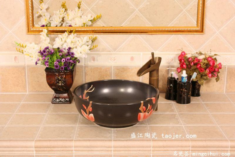 RYXW572景德镇 陶瓷 黑底红玉兰 洗脸盆 家居工艺摆设