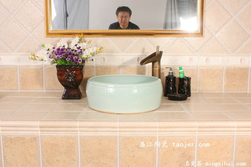 RYXW525景德镇 陶瓷 腰鼓影青雕刻 洗脸盆 家居工艺摆设