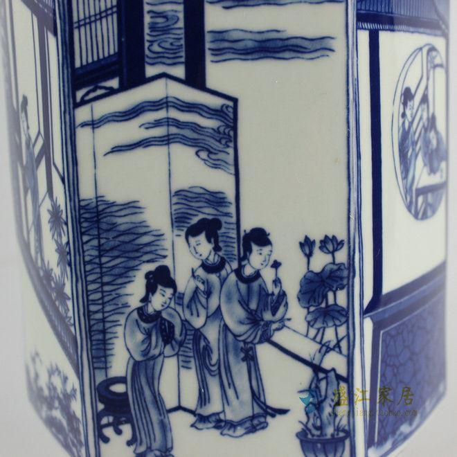 RYJF43景德镇手绘仿古青花人物花瓶 六角瓶