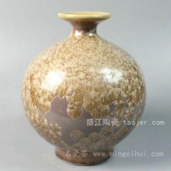 RYYH02景德镇 陶瓷 黄色 结晶釉 花瓶 工艺摆设