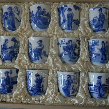 NRDR136景德镇 陶瓷 手绘 青花 红楼十二金叉 茶具 套组