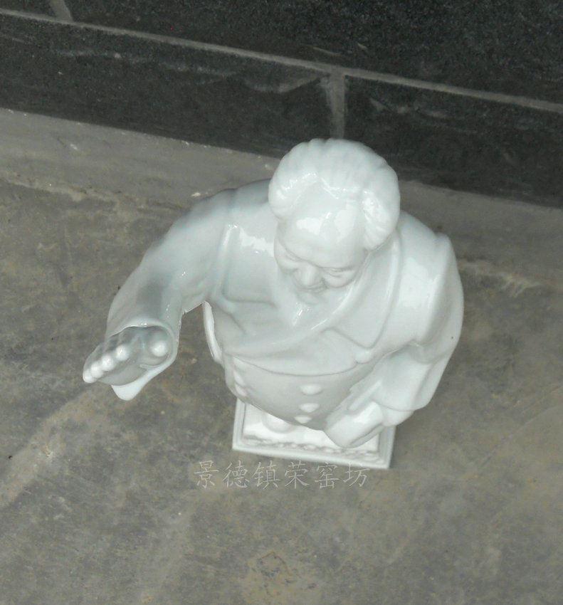 ZJHW06景德镇精品陶瓷毛主席雕像 白瓷 艺术品