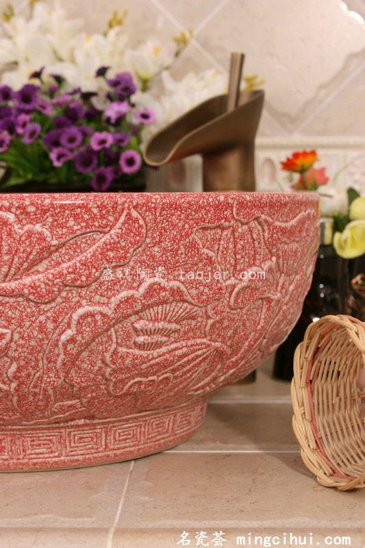RYXW201景德镇 双层红结晶釉雕刻荷花 家居工艺摆设