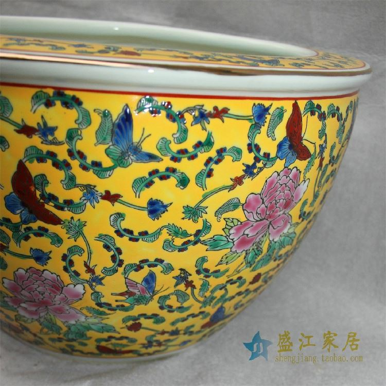 RZCX0506景德镇精品陶瓷黄底粉彩鱼缸蝴蝶牡丹缠枝大缸水缸花盆