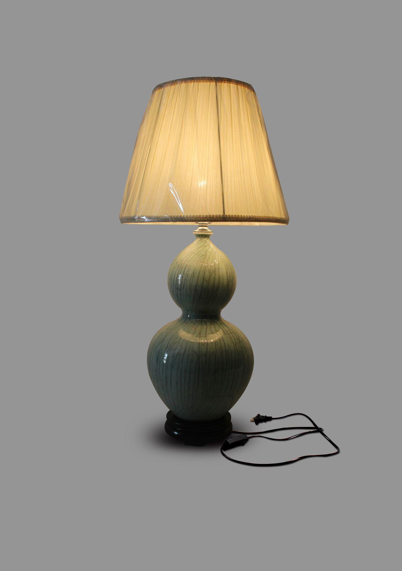 DSIF02景德镇 陶瓷 开片葫芦绿罩灯 台灯 灯具 灯饰 家居摆设