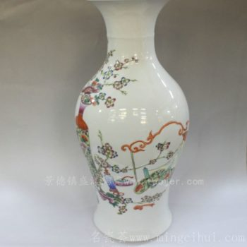 RYWQ08景德镇 陶瓷 仿古粉彩 花鸟 美人瓶 花瓶 花插工艺摆设