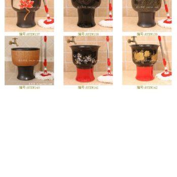 RYXW142景德镇 陶瓷 黑红金牡丹 拖把池 家居工艺摆设
