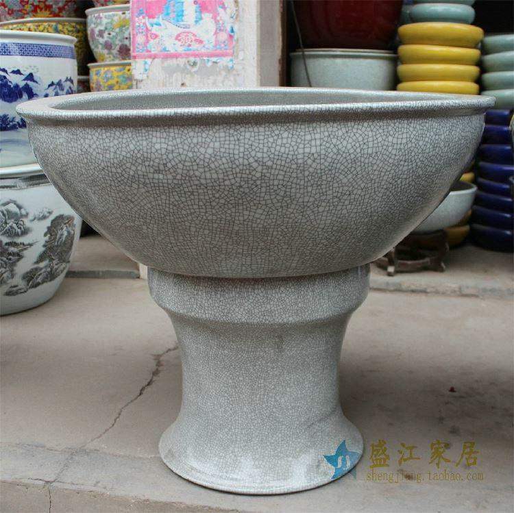 HD22景德镇精品陶瓷鱼缸花盆开片裂纹鱼缸水缸水培养殖大缸