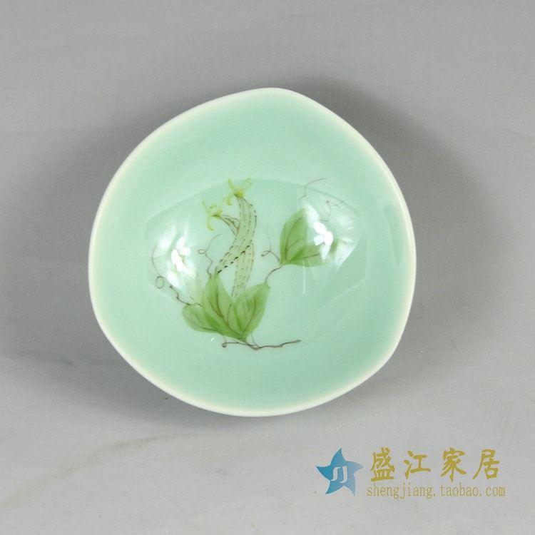 RYZU12-13景德镇陶瓷手绘荷花小碗品茗杯茶杯茶碗陶瓷碗