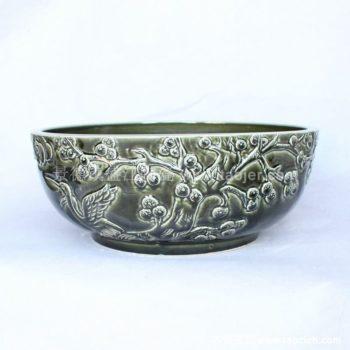 RYBH87景德镇陶瓷 蓝底 欧式 树叶 和平鸽 洗脸盆 家居工艺摆设