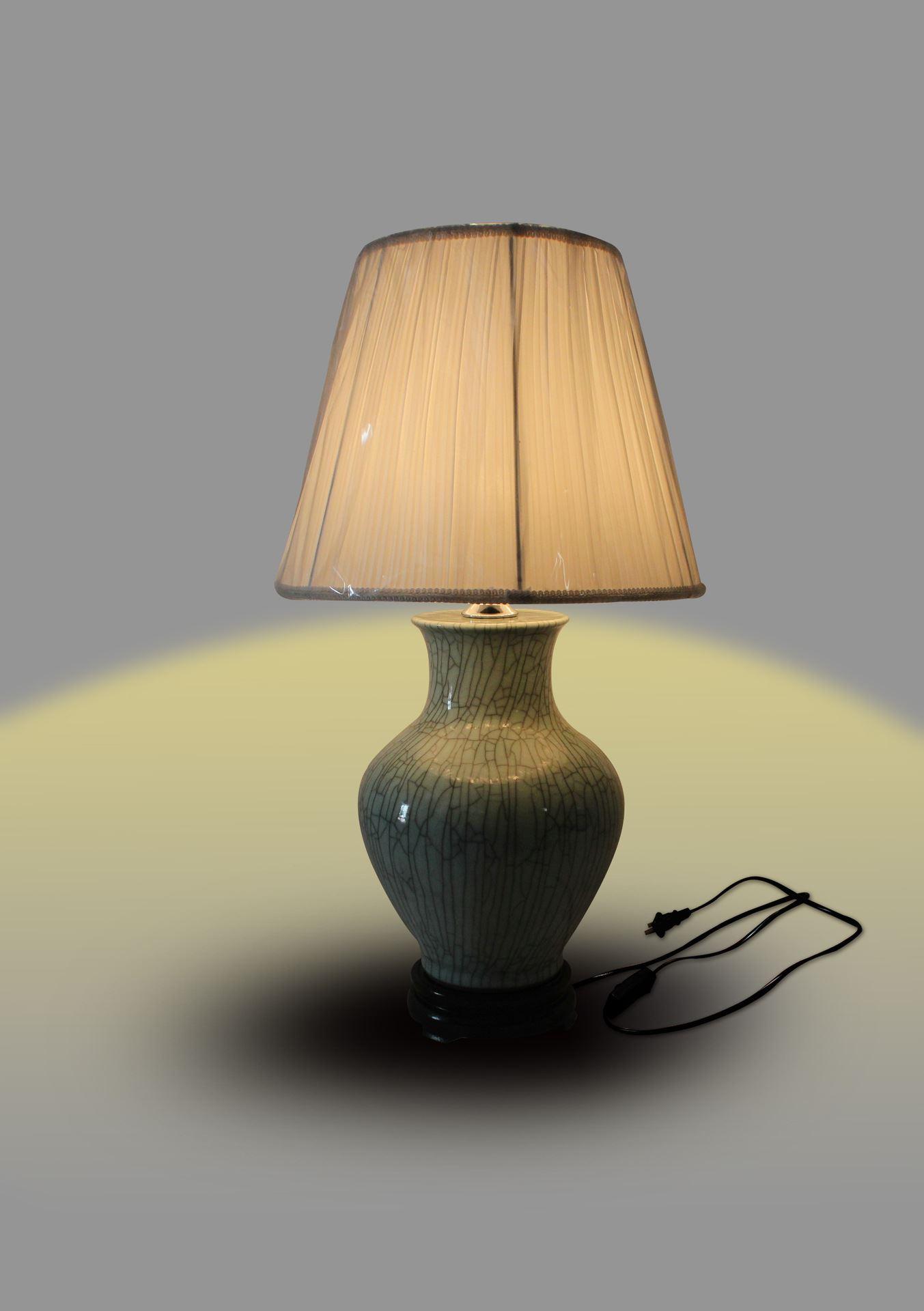 DSIF08景德镇 陶瓷 开片矮冬瓜 台灯 灯具 灯饰 家居摆设