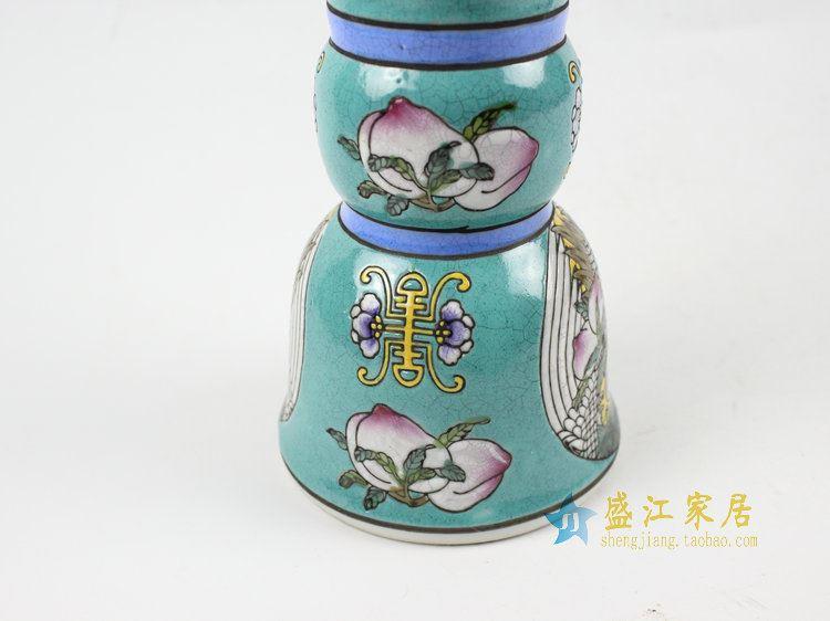 RYRK20景德镇仿古瓷 绿底粉彩花估 花瓶 家居摆件
