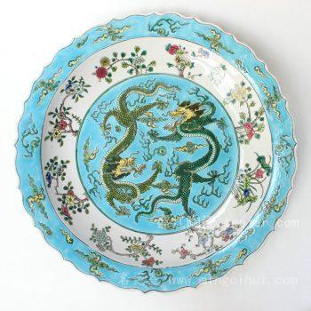 RYQQ40 景德镇 精品 陶瓷 蓝白底花口龙纹 五彩盘