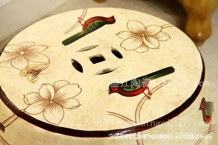 RYYL01景德镇 陶瓷 白色花鸟 瓷凳 凉墩 凳子 家居工艺
