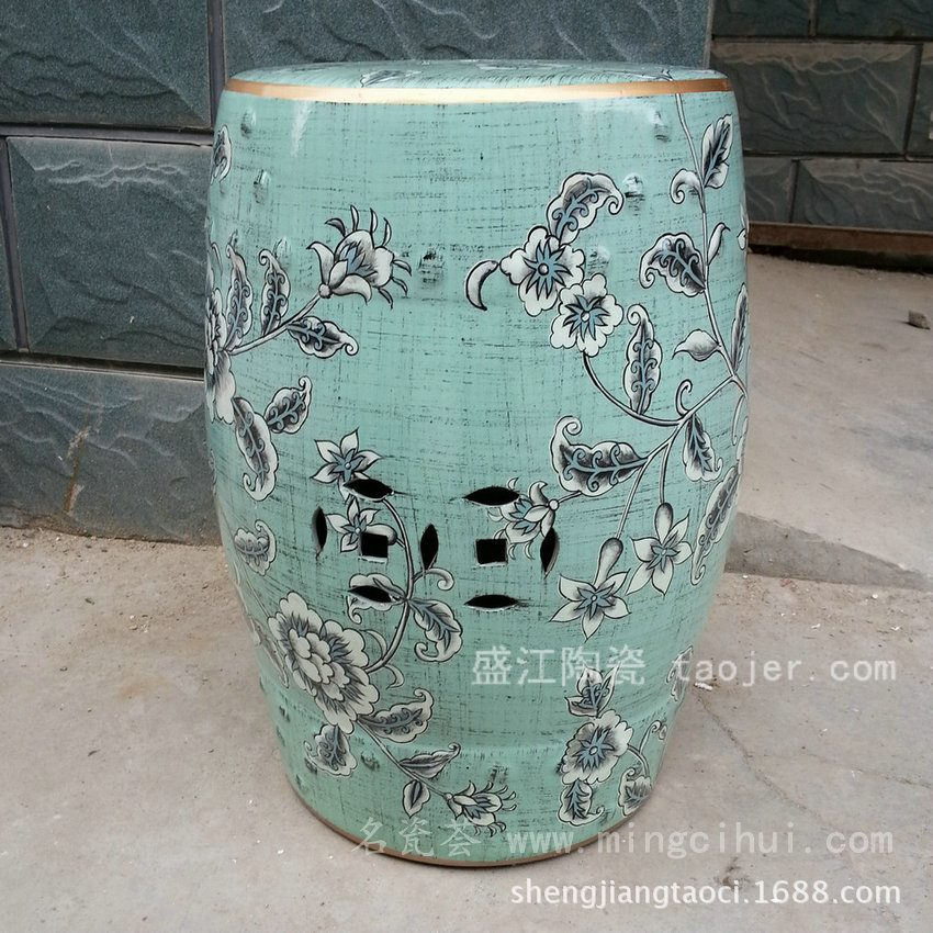 RYZS07景德镇 陶瓷 蓝色水草 瓷凳 凉墩 凳子 家居工艺