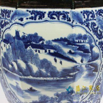 RZAJ01景德镇陶瓷 手绘青花开光山水 瓷凳 梳妆凳 鼓凳 凳子