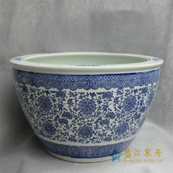 RYYY27景德镇精品陶瓷青花鱼缸大缸水缸花盆水培平口