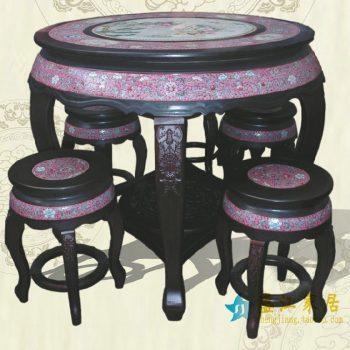 RYYZ09景德镇陶瓷 仿古粉红底粉彩人物 瓷桌凳套组 一桌四凳子